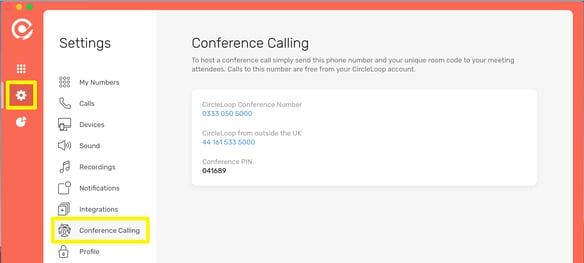 CircleLoop - Desktop - Settings Menu - Conference Calling