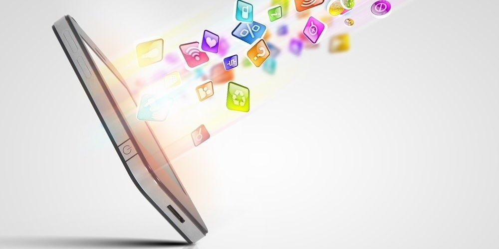 Media technology illustration with mobile phone and icons-691037-edited
